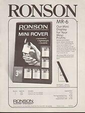 VINTAGE AD SHEET #1867 - RONSON MINI ROVER LIGHTER - SILVER-TONE - GOLD-TONE