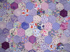 100 Tacked Hexagons in Purple and Lilac Cotton Fabrics for Patchwork