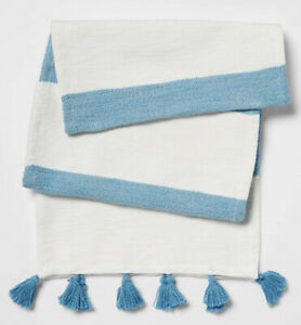 """Opalhouse Cotton Preppy Striped Blue Table Runner  14"""" x 72""""  New"""