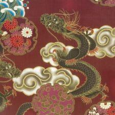 Fat Quarter Hiko japonais dragon coton quilting tissu NUTEX 68390 104 Rouge