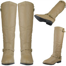 Womens Faux Leather Knee High Riding Boots w/ Ankle and Collar Strap Black Taupe