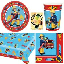 Feuerwehrmann Sam Partyset 37tlg Teller Becher Serviette Tischdecke für 8 Kinder