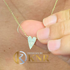 14K Yellow Gold Heart Shape Natural Diamonds Pendent and Adjustable Chain 0.15ct