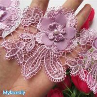 1yd Vintage Pearl Flower Lace Edge Trim Wedding Ribbon Applique DIY Sewing Craft