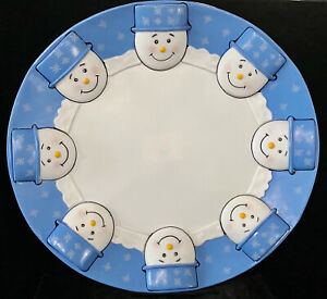 "Vintage Cute ""SNOWMAN"" Hard Plastic Round Cookie Tray 16"" x 15"" Serving Platter"