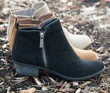 Shopglamla TAN BEIGE BLACK Faux Suede Zipper ankle bootie ankle boots 5.5-10