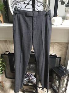 "NEW TOM FORD men's wool silk dress pants gray with white stripes sz 33"" unhemmed"