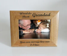 Worlds Best Grandad 6 x 4 Wooden Photo Frame  - Personalise this frame  Free eng