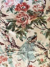 Vintage 1930s Chintz Drapery Panel Birds Flowers Fauna