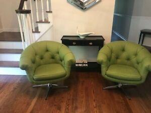 Overman-style Mid Century Modern Pair Swivel Lounge Chairs