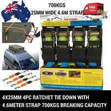 4X25MM 4PC RATCHET TIE DOWN WITH 4.6M STRAP PCS TRAILER TRUCK ROOF RACK MOTORBIK