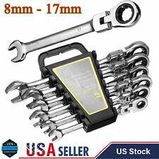 6Pcs Metric Flexible Ratchet Wrench Reversible Ratcheting Combination Wrench Set