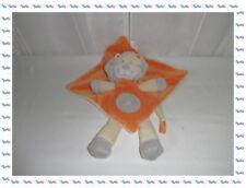 A - Doudou Plat Losange  Lion Orange Ecru   Nicotoy