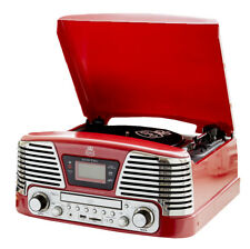 GPO Memphis Retro Style Turntable Record Player, Red