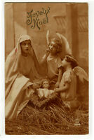 1920s Vintage French CHRISTMAS NATIVITY Angel Christmas Card real photo postcard