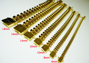14k  6/8/10/12/14/16/18mm Gold plated Miami cuban link bracelet stainless steel