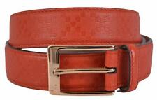 New Gucci Men's 345658 Tabasco Red Diamante Leather Belt 42 105