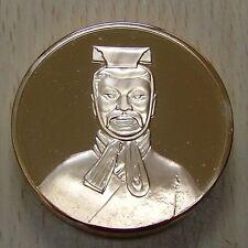Superbe et énorme médaille Soldat Debout Chinois dorée OR fin 24 Carats *L@@K*