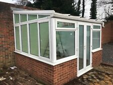 EDWARDIAN STYLE LEAN-TO CONSERVATORY GLASS ROOF WHITE UPVC CAN DELIVER