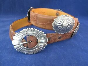NATIVE AMERICAN NAVAJO STERLING SILVER AND ALIGATOR CONCHO BELT, MAKER MARKED