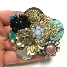 Huge! VTG Rhinestone Cabs Iridescent Beaded Collage Brooch Gold & Silver FF402c
