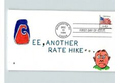 """1994 OLD GLORY """"G"""" Flag stamp, Hand painted """"Gee, Another Rate Hike"""" First Day o"""