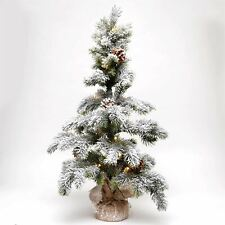75cm Pre Lit Novelty Christmas Snow Tree Frosted Tips Pine Cone Xmas Decoration