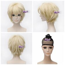 Light Blonde 30cm Short Layered Anime Cosplay Wig Fashion Style Party + Wig Cap