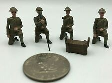 (5) Pc Vintage WWII Metal Lead 54mm Toy Soldiers w/ Supply Box UNBRANDED Good
