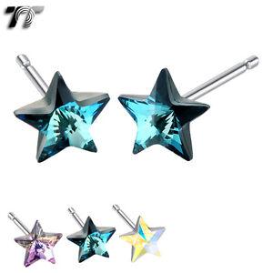 TT 925 Sterling Silver 5mm Star Made with Swarovski Crystal Earrings 925E02
