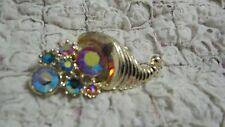 Vintage Cornucopia with Aurora Borealis Blue and Pink Rhinestones Brooch