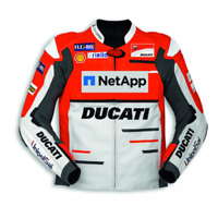 DUCATI NETAPP MOTORCYCLE MOTORBIKE COWHIDE LEATHER BIKERS RACING JACKET
