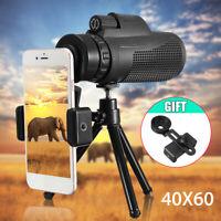 NEW 40X60 Zoom Phone Telescope Optical HD Lens Monocular+Tripod+Clip For iPhone