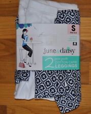 NWT Womens June & Daisy 2 PACK White Printed Capris Leggings Size S Small