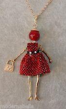 Bambola Collana vestito di LANA,perle,Donna,bambolina,Rosso catena oro
