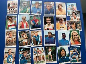 25 unsignierte Olympia München72 Bergmann-Sammelbilder Leichtathletik