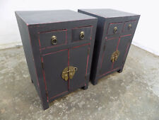 pair,two,chinese,side,end,bedroom,black,painted,cabinets,two drawers,cupboard
