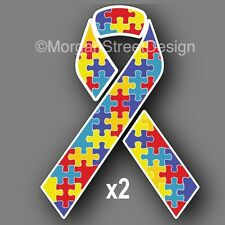 "Autism Awareness (Set of 2) 3"" Ribbons Vinyl Decal Sticker Car Truck"