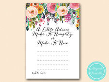 10 x PRINTED - Naughty or Nice Advice Cards Bridal Shower Hens Party BS138
