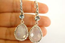 Rainbow Moonstone Blue Topaz 2-Stone 925 Sterling Silver Dangle Earrings
