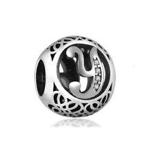 "Silver Letter ""Y"" CZ Charm Bead, fits European Style Bracelets"