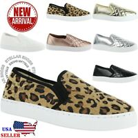 NEW Women's Round Toe Slip On Sneaker Comfort Cushioned Quilted Fashion Sneakers
