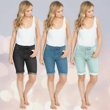 Ladies Womens Casual Stretch Denim Shorts Summer Knee Length Pants Sizes 8-22 UK