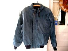 VINTAGE1960-70 BLUE FAUX SUEDE QUILTED WINTER BOMBER JACKET-HIGH FASHION-ITALY-L