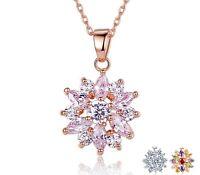 Halskette Halsketten Anhänger Blume Blüte Geschenk Edelstahl Rosegold Silber