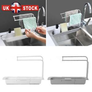 Telescopic Kitchen Sink Rack Organiser Shelf Expandable Storage Drain Basket UK