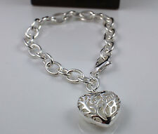 925 Silver Plated Solid Chunky Link Chain Bracelet with Hollow Heart Charm -75