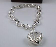 925 Silver Plated sólido Gruesa eslabón de la Cadena Pulsera con hueco corazón encanto -75
