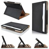 """Genuine Leather TAN BLACK Smart Stand Case Cover For Apple ipad Pro 12.9"""" (2020)"""