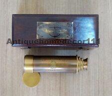 Antique Brass Victorian London 1915 Marine Telescope With Handmade Wooden Box